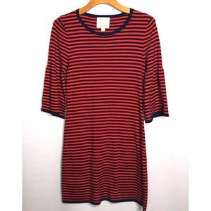 SAIL TO SABLE RED NAVY STRIPE BELL SLEEVE DRESS S